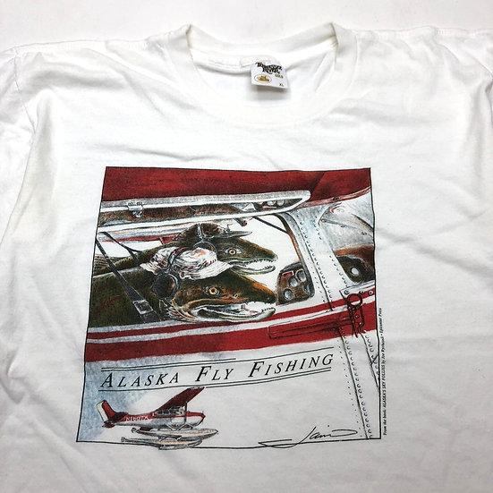 fly fishing T-shirt / WHT