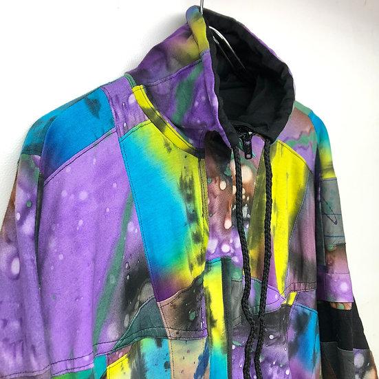 tie dye hi-neck design jacket / multi