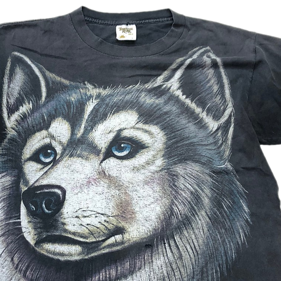 old husky dog T-shirt / BLK
