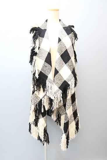 design no sleeve jacket / check