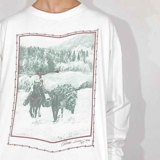 design print L/S T-shirt / WHT
