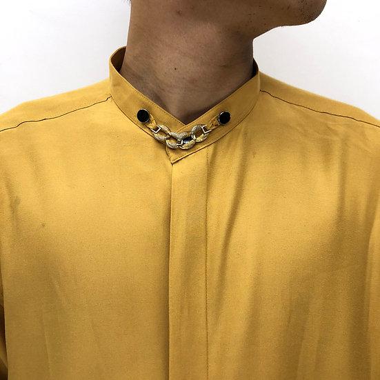band collar design shirt /mustard