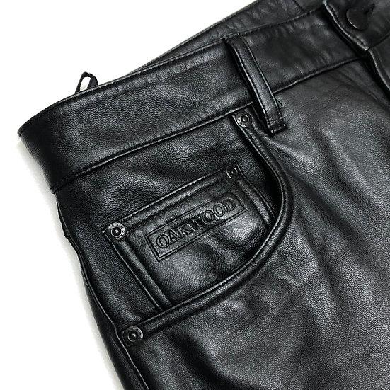leather design pants / BLK