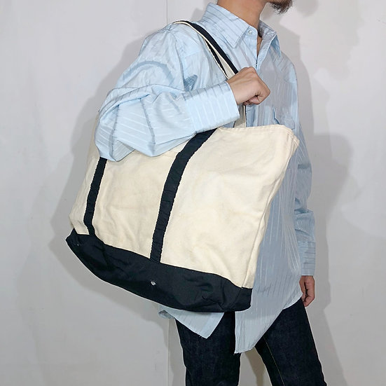 LANDS'END canvas tote bag / WHT