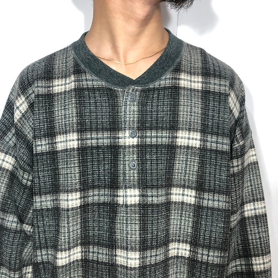 henry neck waffle L/S T-shirt / GRN