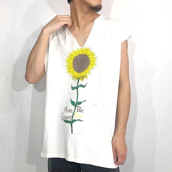 90's no sleeve junk T-shirt / WHT