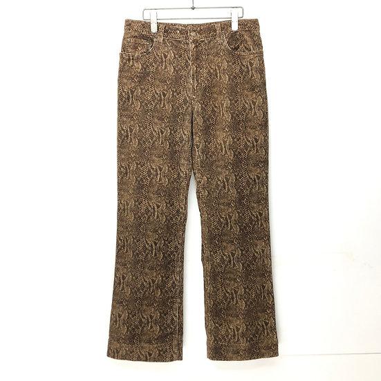 python flare corduroy pants / BRN