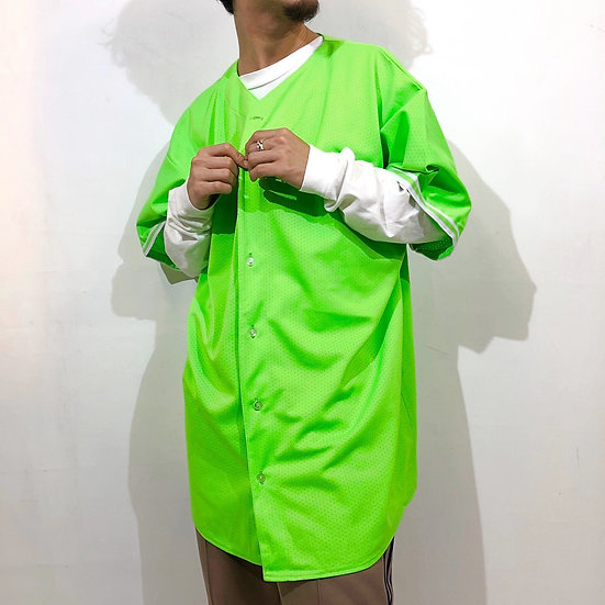 baseball design mesh s/s shirt / neon green