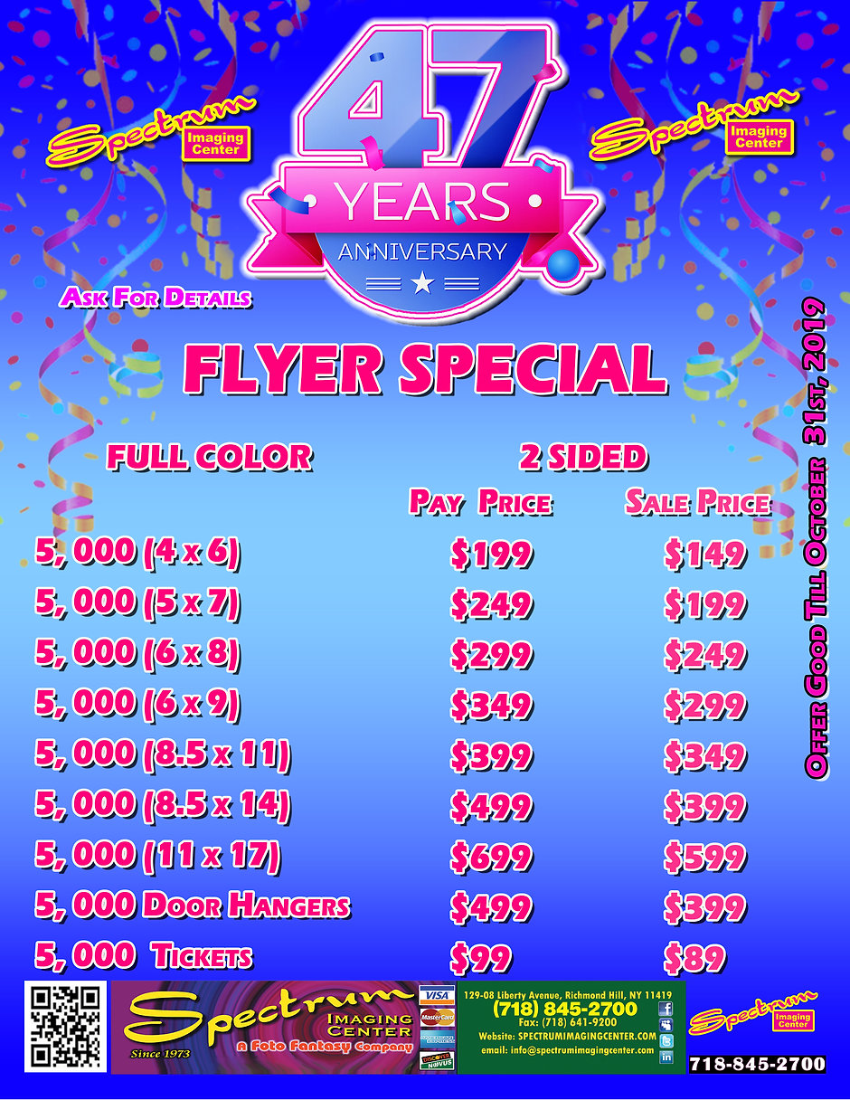 SPECTRUM ANNIVERSARY SPECIAL FLYER (PAGE