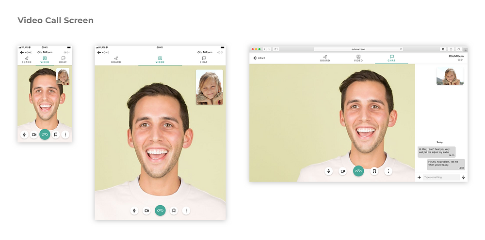 Responsive designs for the video call screen. The tablet version is similar to mobile: tapping the tab bar icons brings you to a different screen. On desktop, tapping on chat or whiteboard will instead open a side drawer that slides over the video call screen from the left or right.