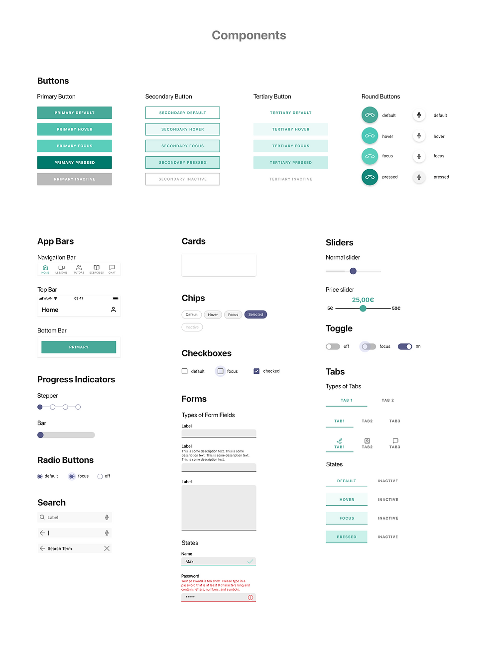 All components of the app, from navigation bars to text input fields.