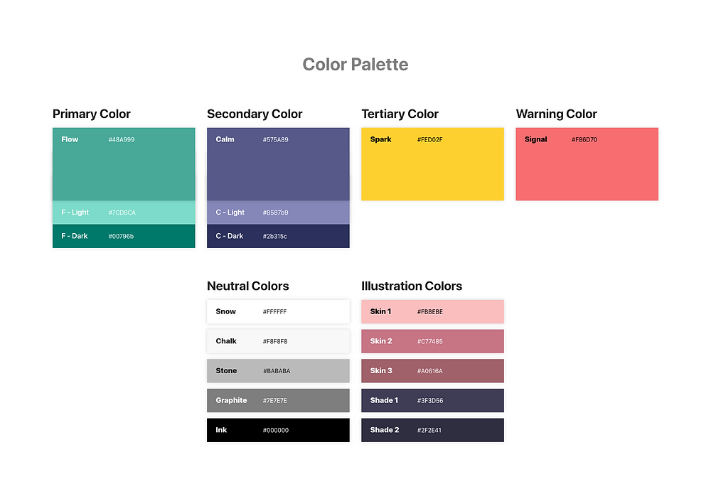 The color palette for the project, consisting of teal as primary color, purple as secondary color, yellow as tertiary color and red as warning color.