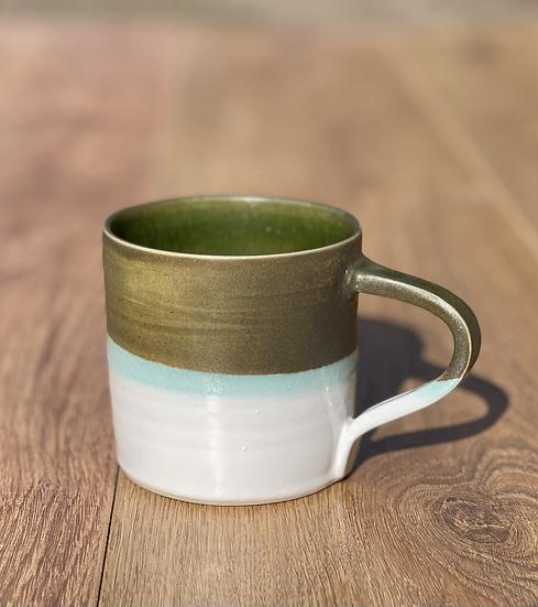 Dalton Mugs - Olive, Turquoise & White