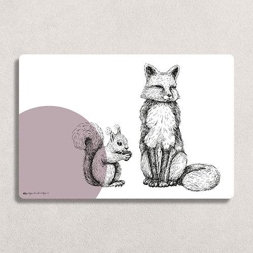 Placemat XL Vos/Eekhoorn Paars