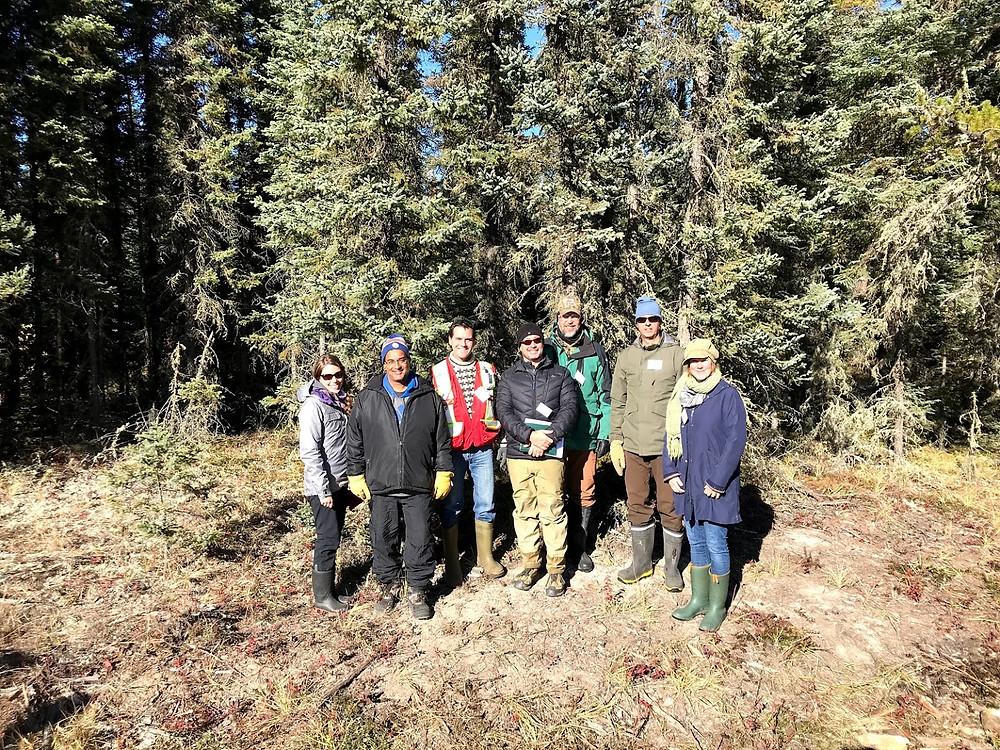 BERA team members (left to right) Caroline Franklin (University of Alberta), Amit Saxena (Devon Energy), Michael Cody (Cenovus Energy), Greg McDermid (University of Calgary), Elston Dzus (Alberta-Pacific Forest Industries), Robert Albricht (ConocoPhillips), and Julia Linke (University of Calgary).