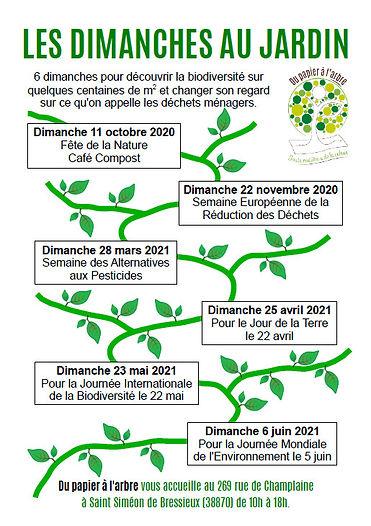"""Les dates des """"Dimanches au jardin"""" - animations par Du papier à l'arbre"""