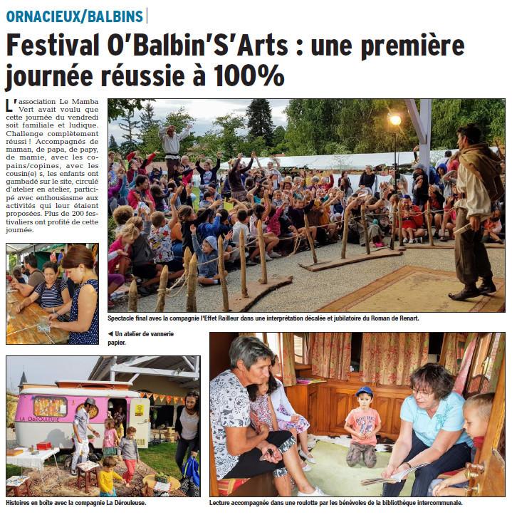 article du Dauphiné Libéré du 28/08/2018 sur le festival O'Balbin'S'Arts