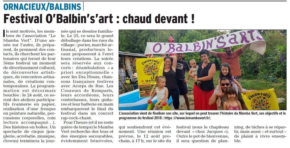 article du Dauphiné Libéré sur le Festival 0'Balbin's'art
