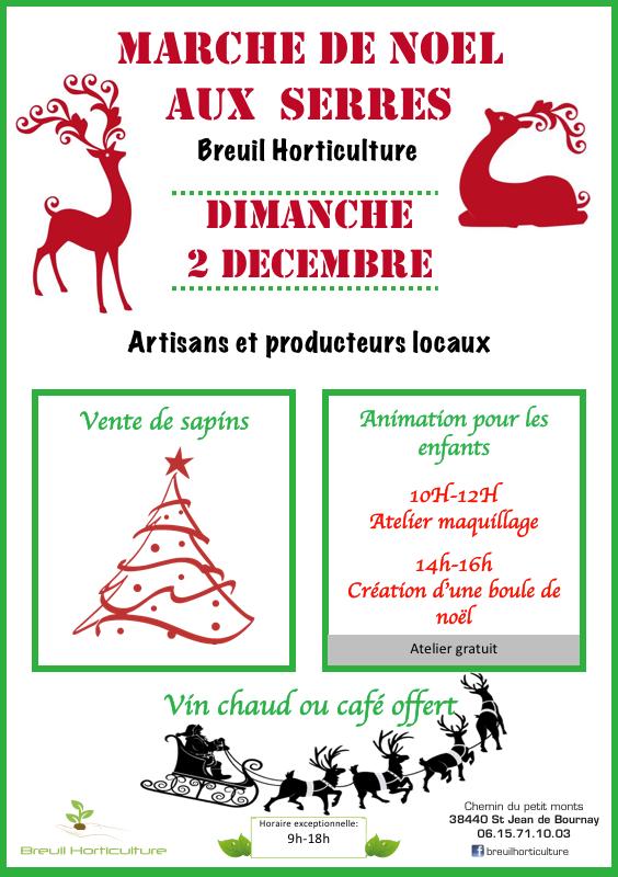 affiche du marché de Noël de Breuil Horticulture
