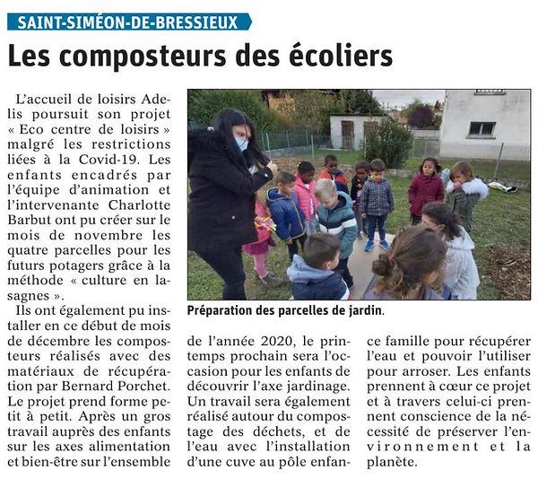 article dans le Dauphiné Libéré le 09/12/2020