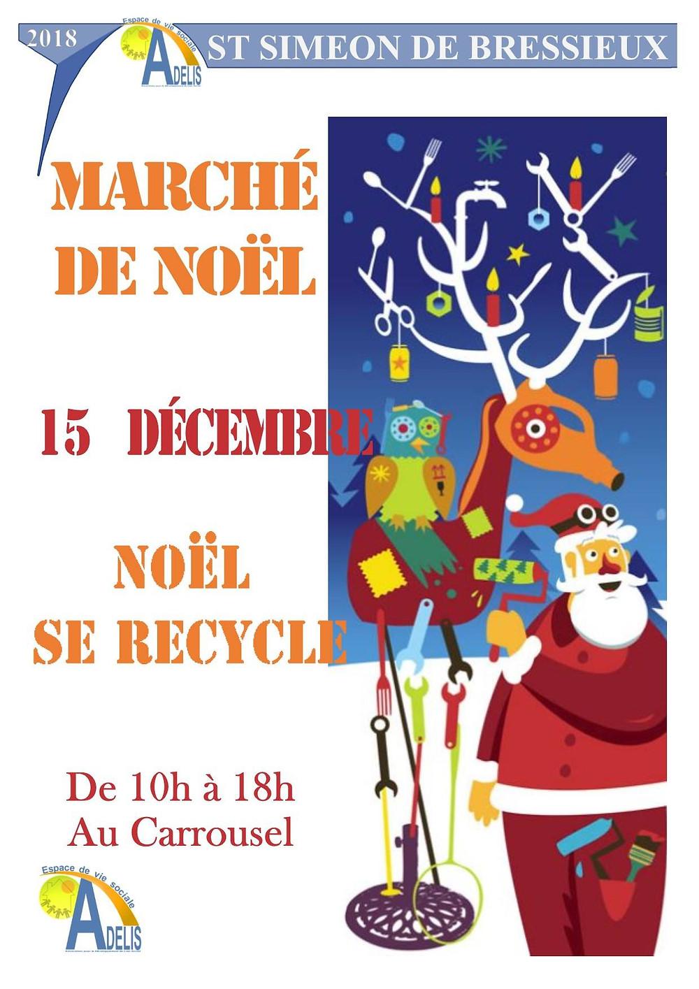affiche du marché de Noël de ADELIS à St Siméon de Bressieux