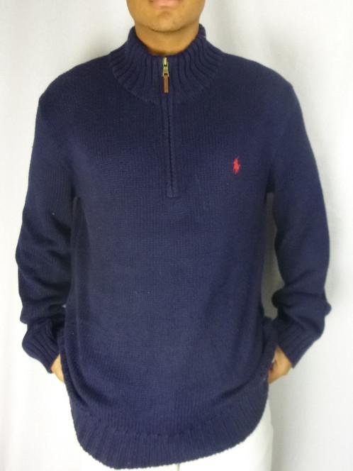 bf71a55ea65fbe POLO RALPH LAUREN Classic Navy Knit 1/4 Zip Sweatshirt