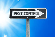 Pest Control direction sign with a beaut