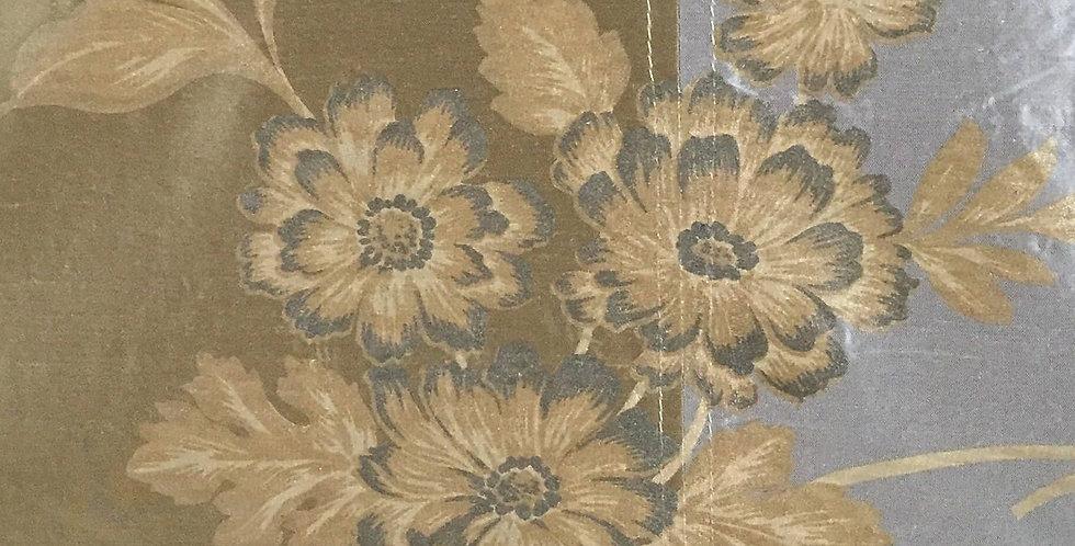 Blue - Gold - Stripe Floral Silk
