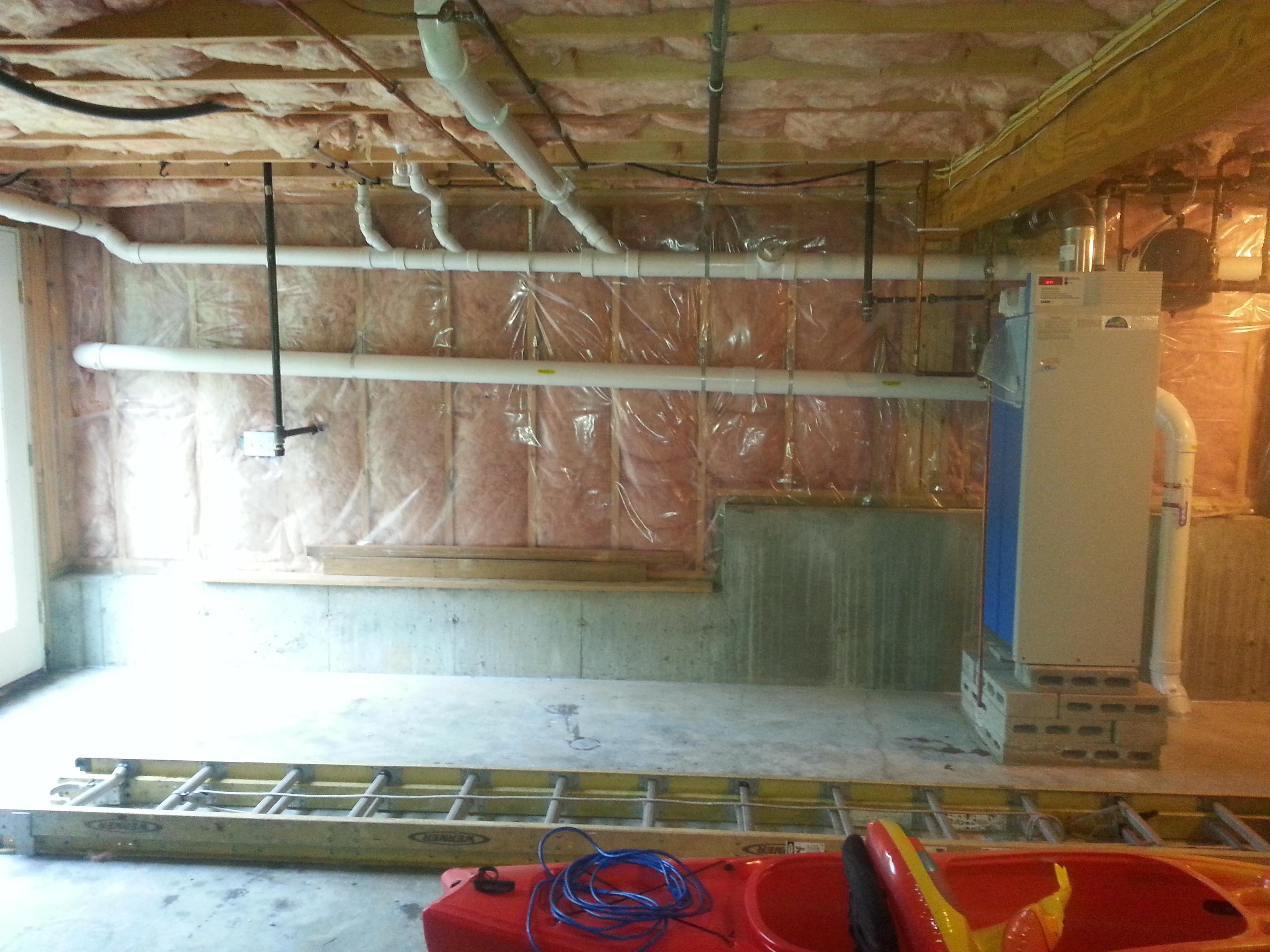 Interior radon piping