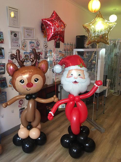 Santa & Rudolph holding helium balloons