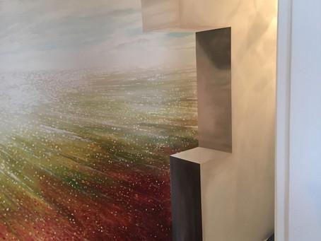 Semi abstracte muurschildering, voor particuliere opdracht in Bedum Groningen