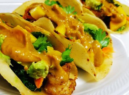 Shrimp Tacos & Green Chile Salsa