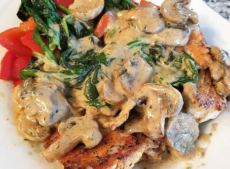 Pan-Seared Salmon w/ Mushroom Cream Sauce