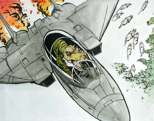 T-rex in a jet, inspired by Calvin and Hobbes