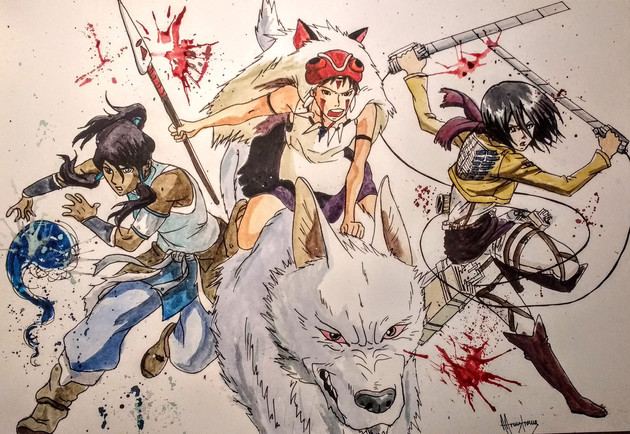 Deadly trio, Princess Mononoke, Avatar Korra and Mikasa