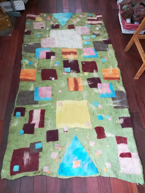 Collaborative colourful rug