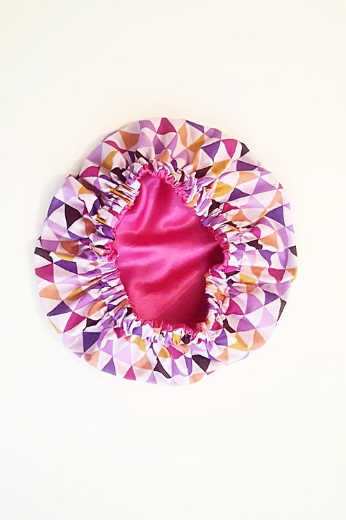 Kids Sleep Caps, multi color triangles with pink satin