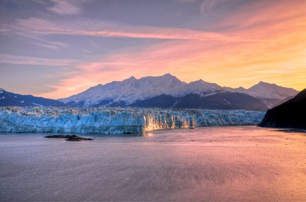 Alaska glacier sunset