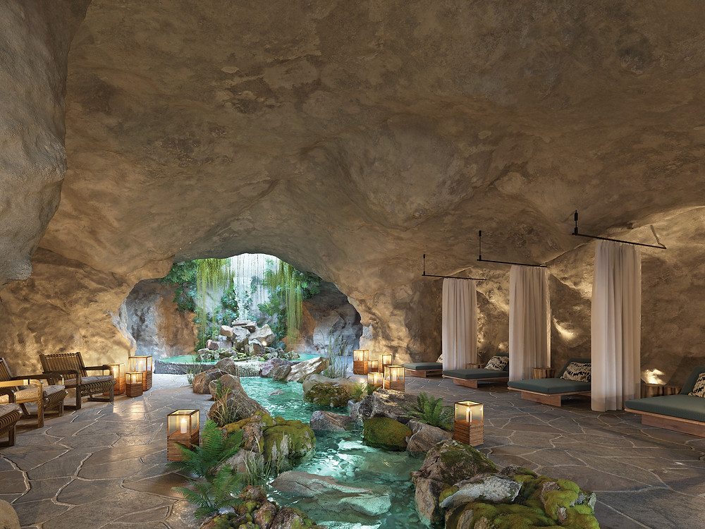 Spa in cave with water stream