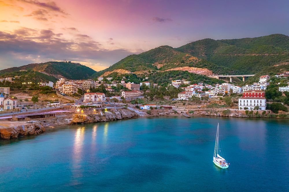 Evia bay with sail boat