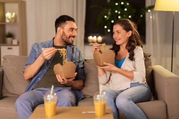 Couple eating take out