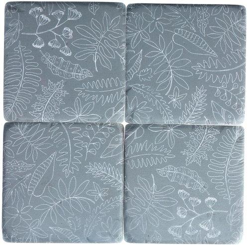 Gisela Graham resin coasters – grey botanical