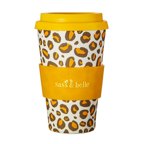 Sass & Belle leopard print Bamboo coffee cup