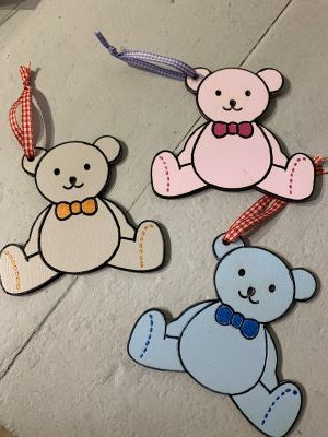 Personalised Wooden Teddy Bear Decorations