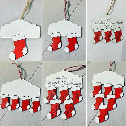 Personalised Wooden Stocking Christmas Decorations