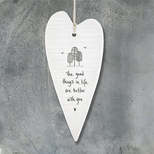 East of India Porcelain Heart. The good things in life