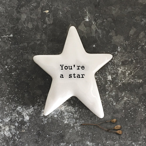 East of India Porcelain star tokens