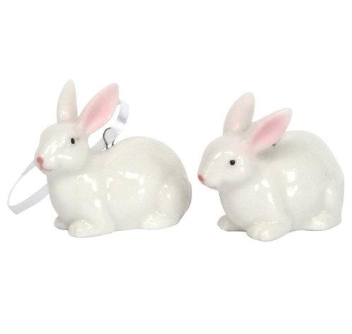 Gisela Graham ceramic white bunnies