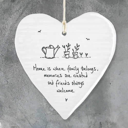 East of India Porcelain Heart. Home is where family belongs