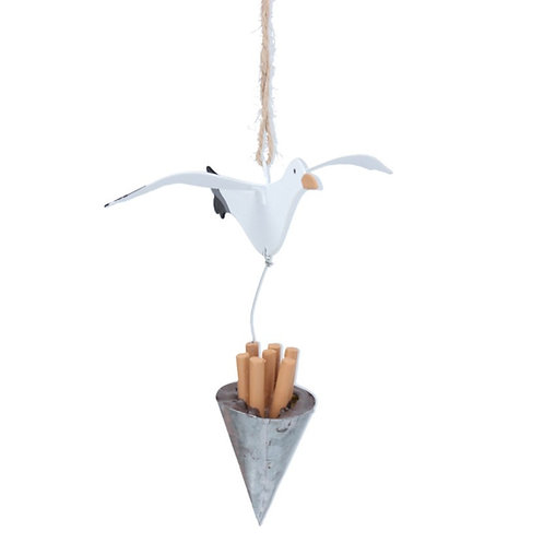 Gisela Graham seagull and chip cone decoration